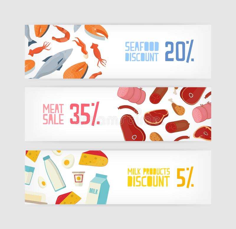 Collection of horizontal banner templates with fish, seafood, meat, milk or dairy products discount on white background stock illustration