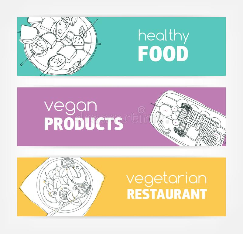Collection of horizontal banner templates with monochrome vegan food hand drawn on bright colored background. Special vector illustration