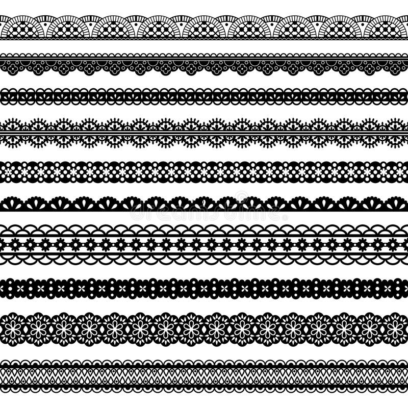 Collection Horizontal Laces Black Seamless Borders stock illustration