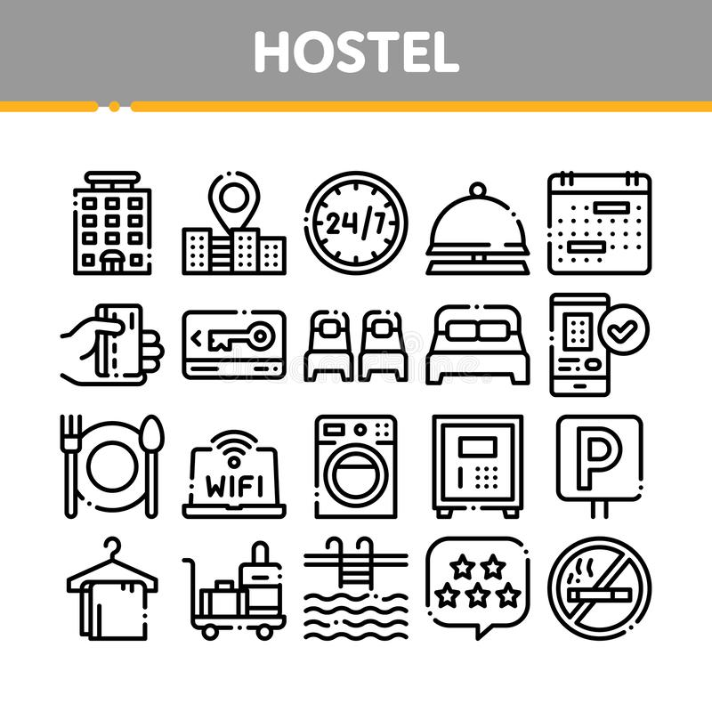 Collection Hostel Elements Vector Sign Icons Set. Building Hostel And Location, Calendar And Parking Symbol, Bed And Laundry Machine Linear Pictograms. Wifi royalty free illustration