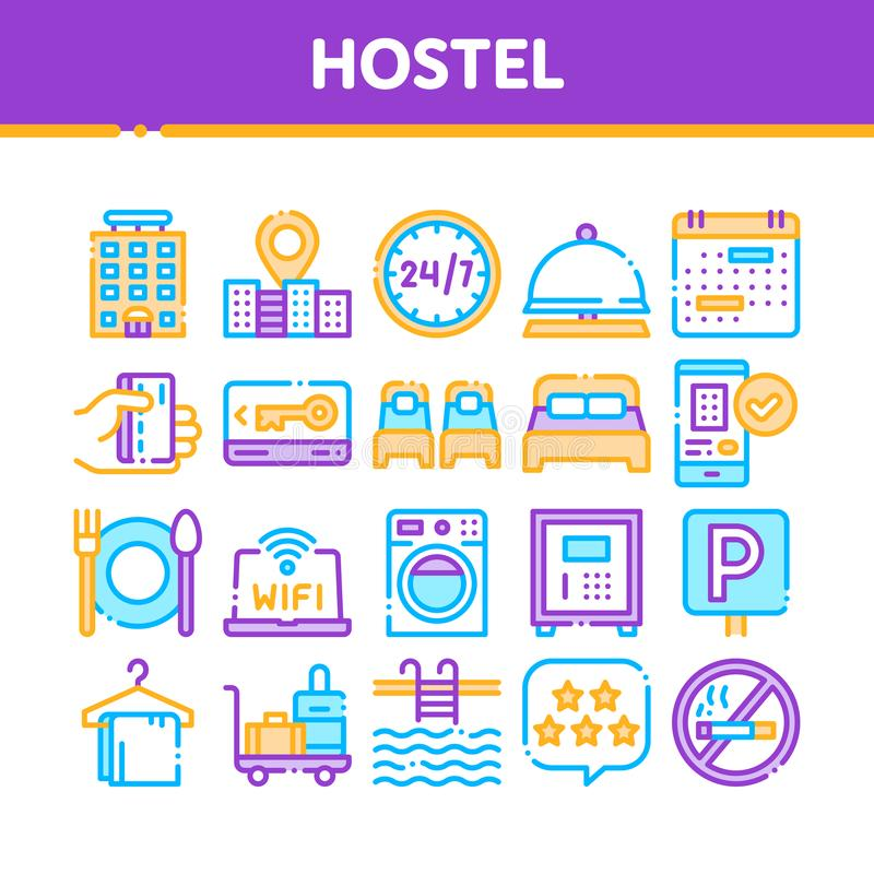 Collection Hostel Elements Vector Sign Icons Set. Building Hostel And Location, Calendar And Parking Symbol, Bed And Laundry Machine Linear Pictograms. Wifi stock illustration