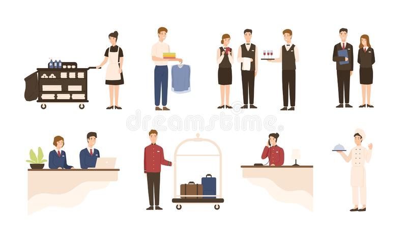 Collection of hotel staff - receptionist, maid or housekeeping service and laundry attendant workers, waiters and vector illustration
