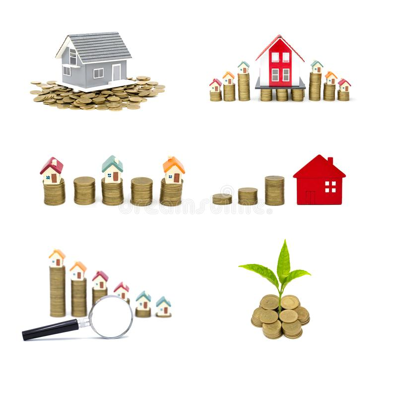 Collection of  House and coins isolated on white background,  savings money of coins to buy a home concept concept for property. Ladder, mortgage and real royalty free stock photography