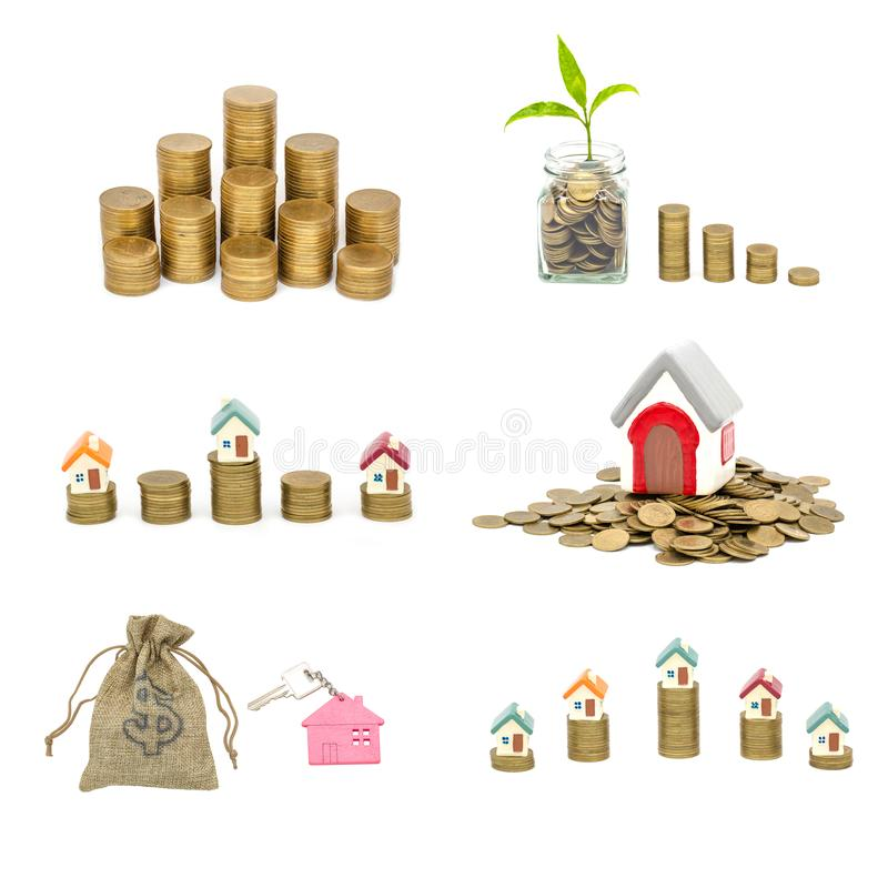 Collection of  House and coins isolated on white background,  savings money of coins to buy a home concept concept for property. Ladder, mortgage and real royalty free stock photo