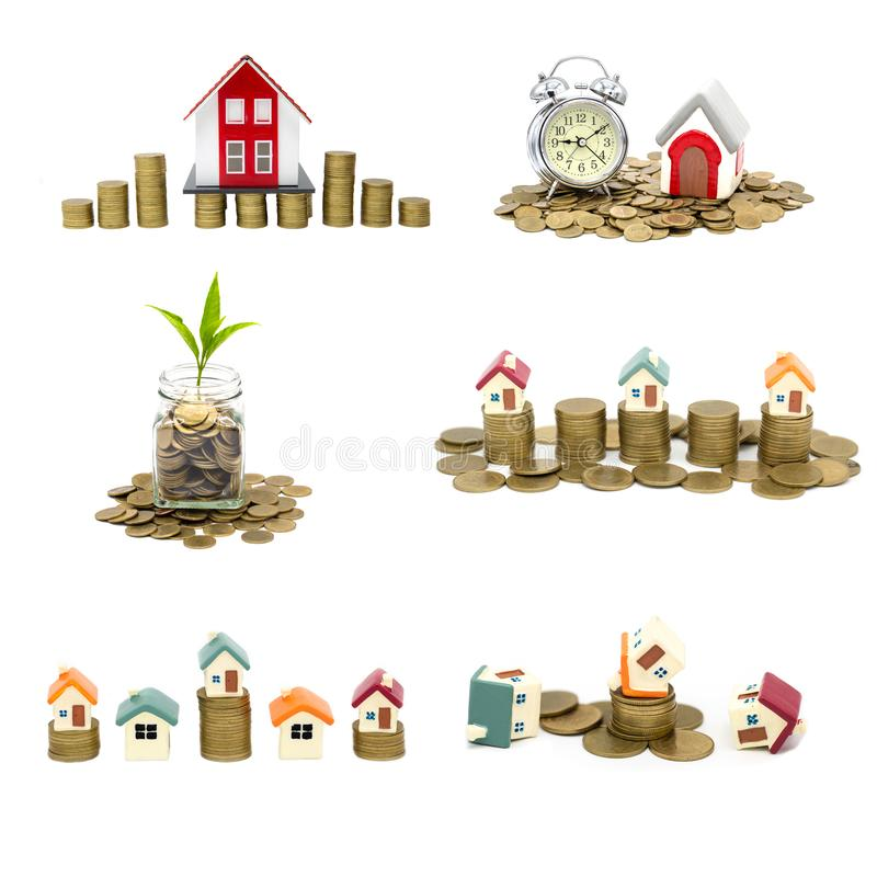Collection of  House and coins isolated on white background,  savings money of coins to buy a home concept concept for property. Ladder, mortgage and real stock photo