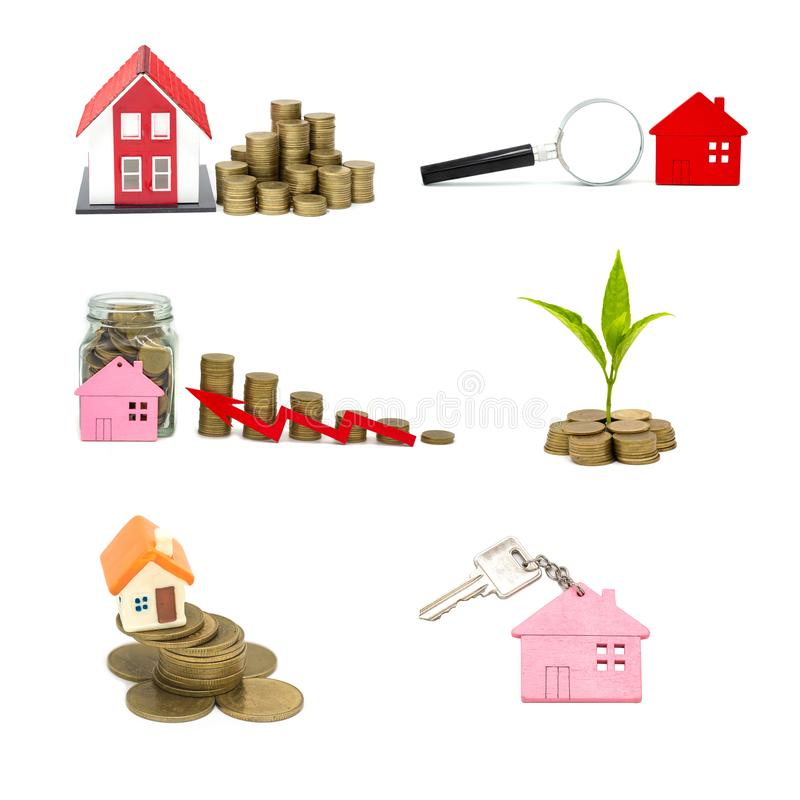 Collection of  House and coins isolated on white background,  savings money of coins to buy a home concept concept for property. Ladder, mortgage and real royalty free stock photos
