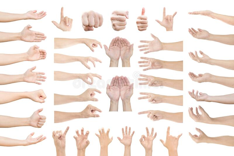 Collection of human hands in multiple gesture isolated on white. Background with clipping path royalty free stock photography