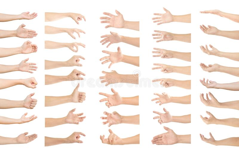 Collection of human hands in multiple gesture isolated on white. Background with clipping path stock photos