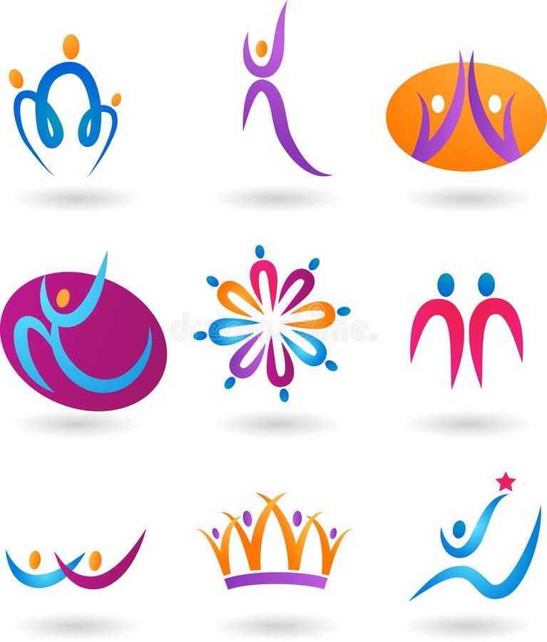 Collection of human logos stock illustration