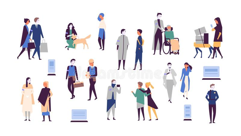 Collection of humans and robots isolated on white background. Androids help people carry items, care about pet animal. Assist disabled person, take photo. Flat royalty free illustration