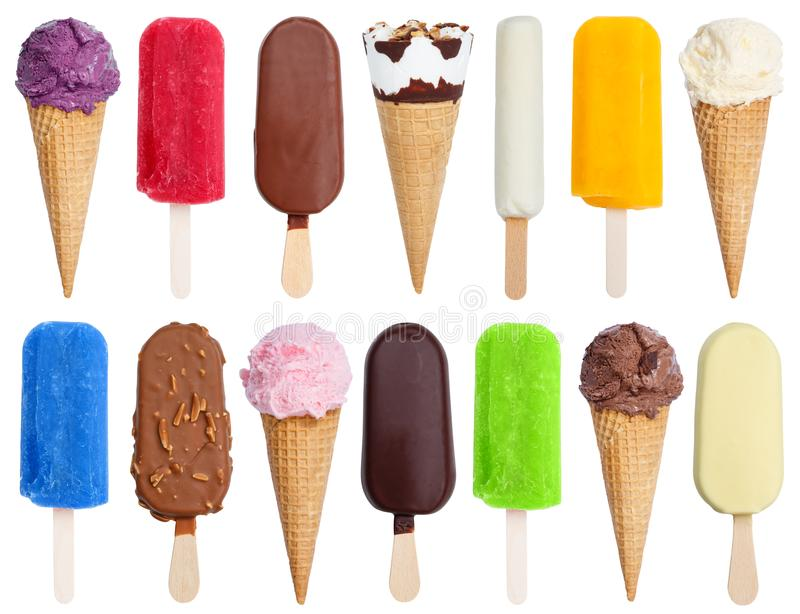 Collection of ice cream ice-cream icecream variety stick isolate. D on a white background royalty free stock photography