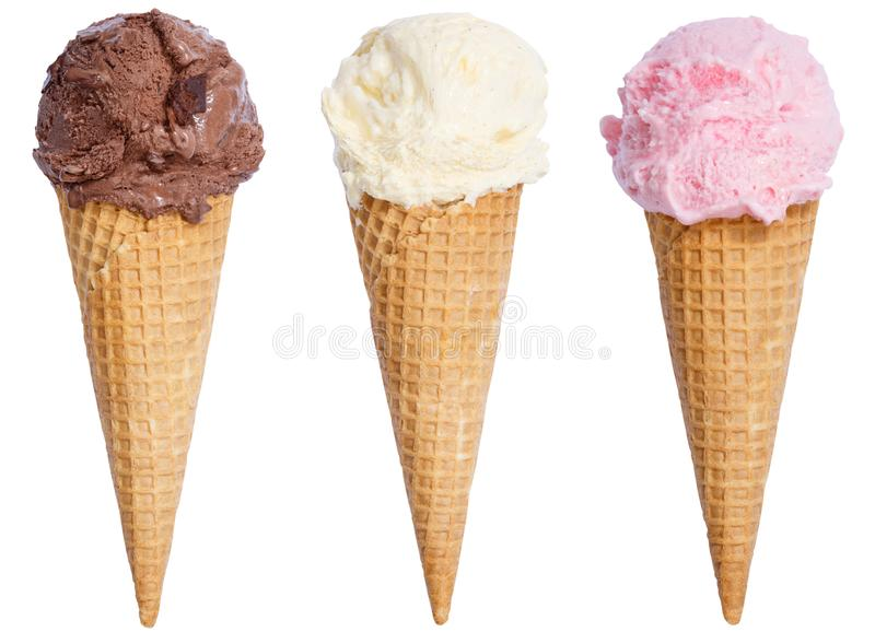 Collection of ice cream scoop sundae cone vanilla chocolate icecream isolated on white royalty free stock image