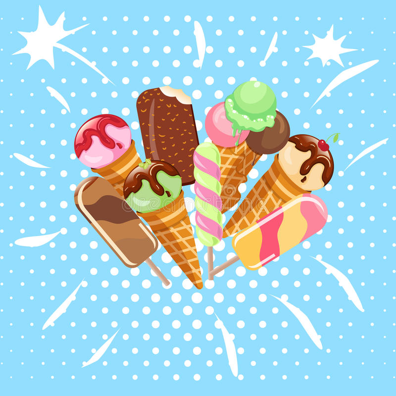 Collection of ice cream sweet dessert cold food illustrations isolated on white. Tasty creamy snack dairy waffle flavor cold ice-cream frozen scoop. Soft stock illustration