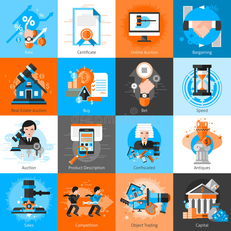 Collection Of Icons For Auction Bargaining. With hammer antiques real estate and objects for trading flat vector illustration stock illustration