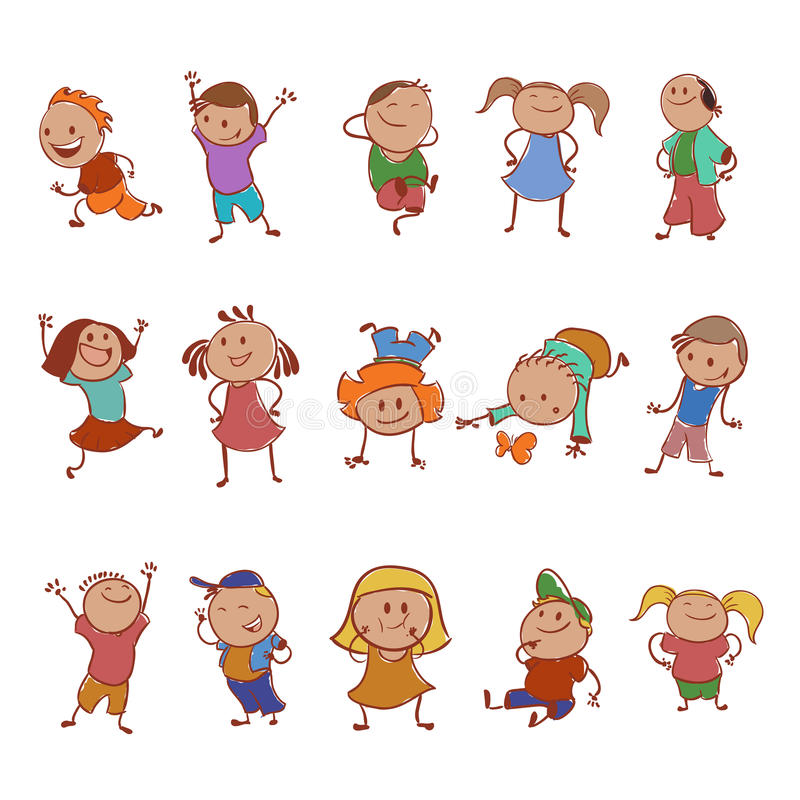 Collection of icons with the children royalty free illustration