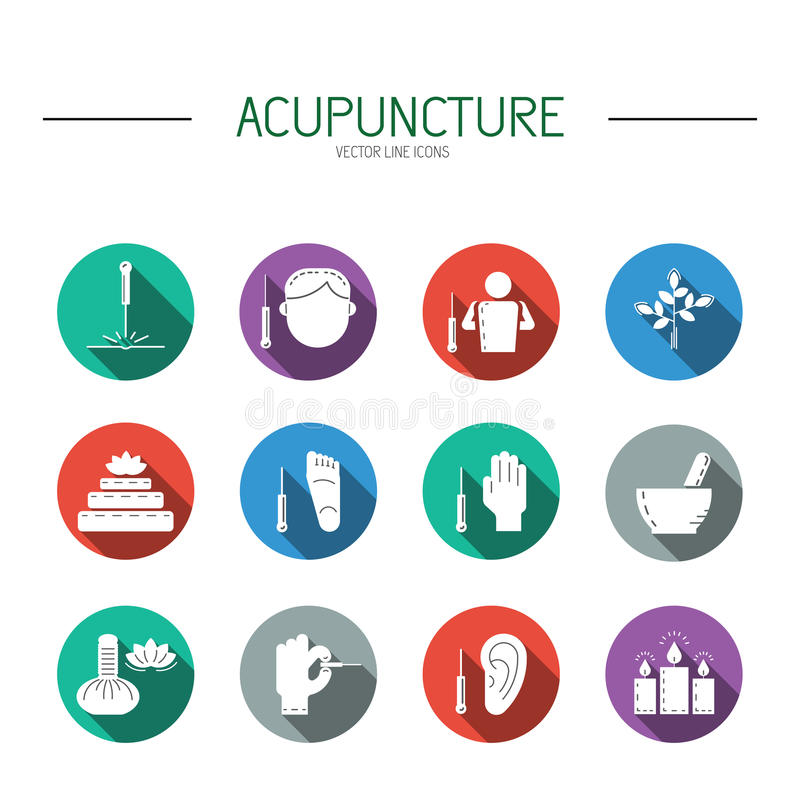 Collection of icons elements for acupuncture and massage, TCM. royalty free illustration