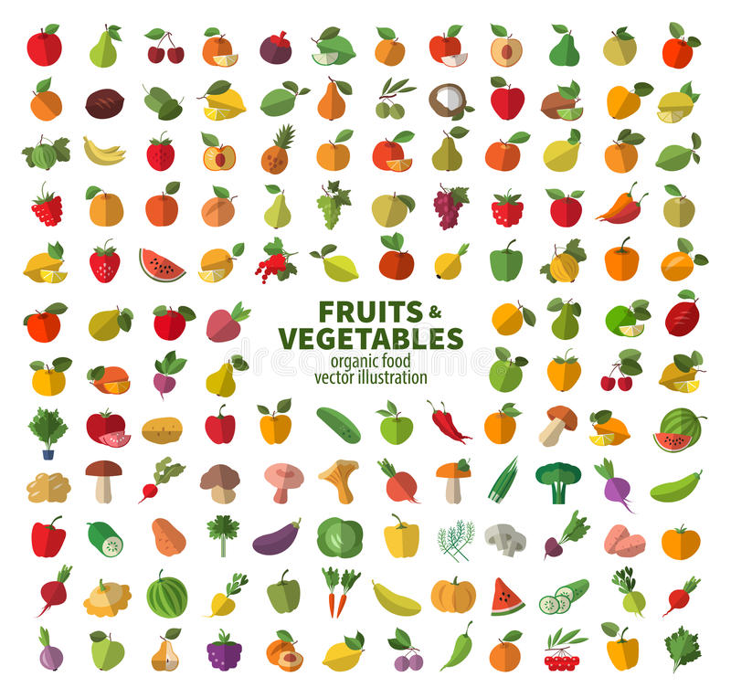 The collection of icons on fruits and vegetables. royalty free illustration