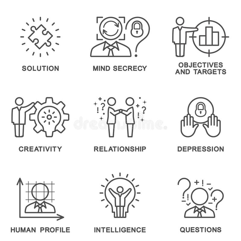 The collection icons human personality psychology. royalty free stock images