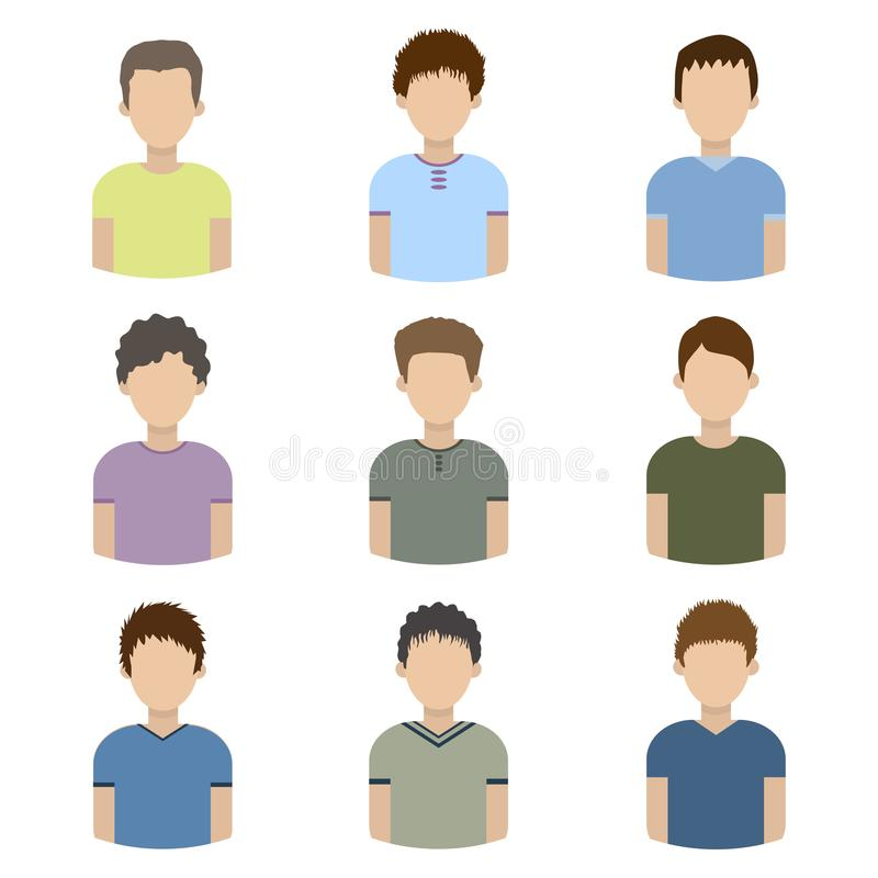 Collection of icons of men in a flat style. male avatars. set of images of young men. vector. Illustration royalty free illustration