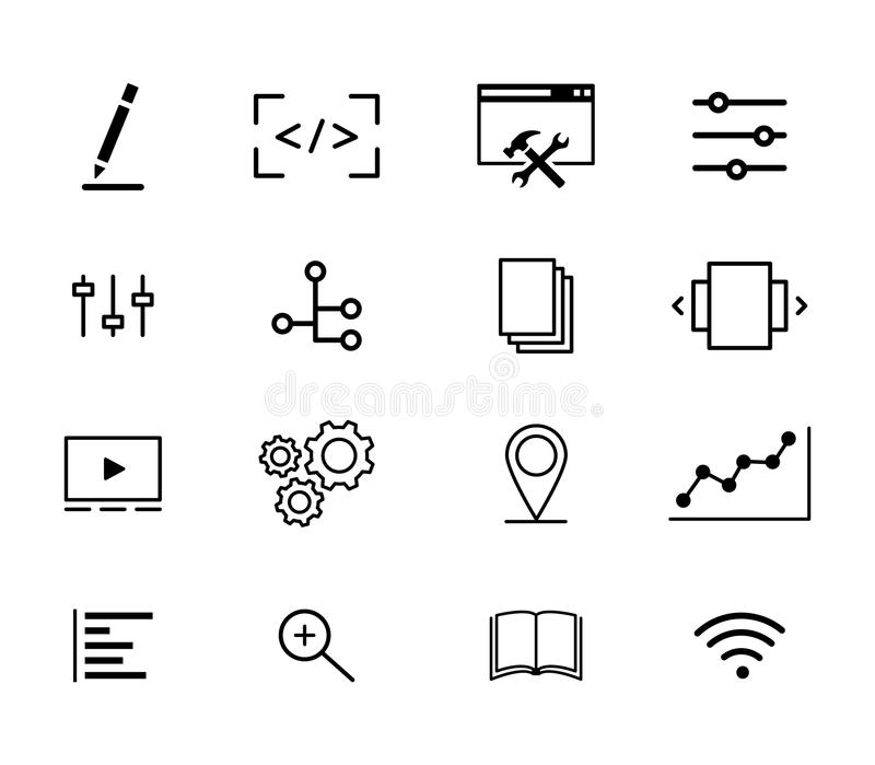 Collection of icons, online business and progress concept, web symbols. Set of icons, online business and progress concept, web symbols for online use royalty free illustration