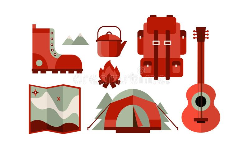 Flat vector set of icons related to camping theme. Travel backpack, tent and map, guitar, boot, kettle and campfire vector illustration