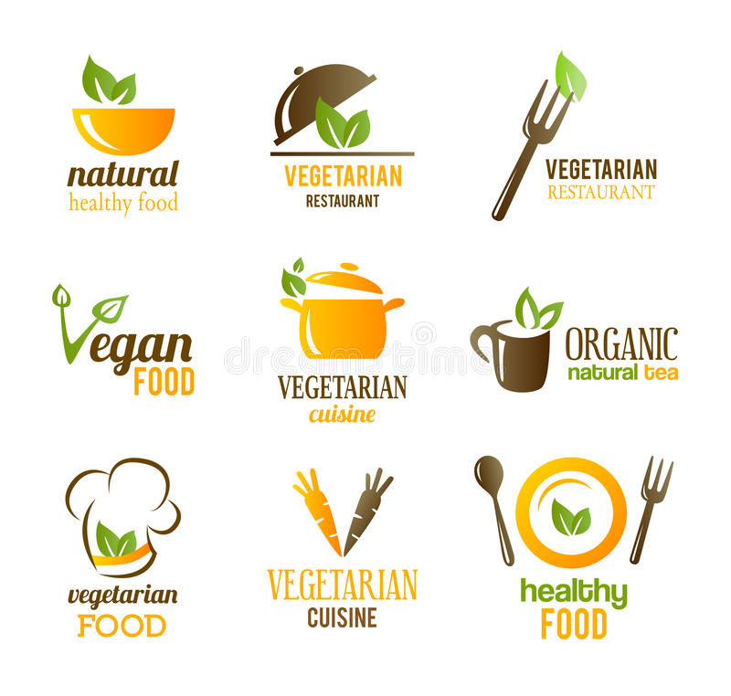 Vegetarian Food Icons stock illustration