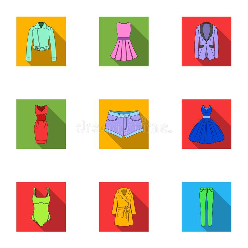 Collection of icons of womens clothing. Various women`s clothes for work, walking, sports. Women clothing icon in set. Collection on flat style vector symbol royalty free illustration