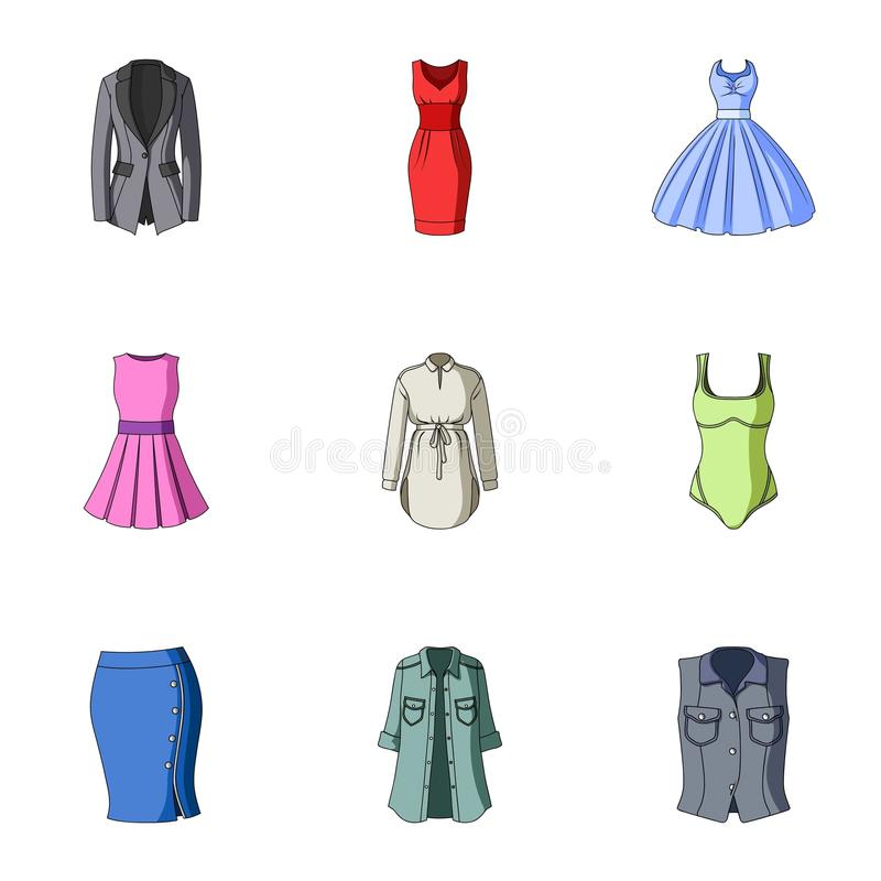 Collection of icons of womens clothing. Various women`s clothes for work, walking, sports. Women clothing icon in set. Collection on cartoon style vector symbol vector illustration