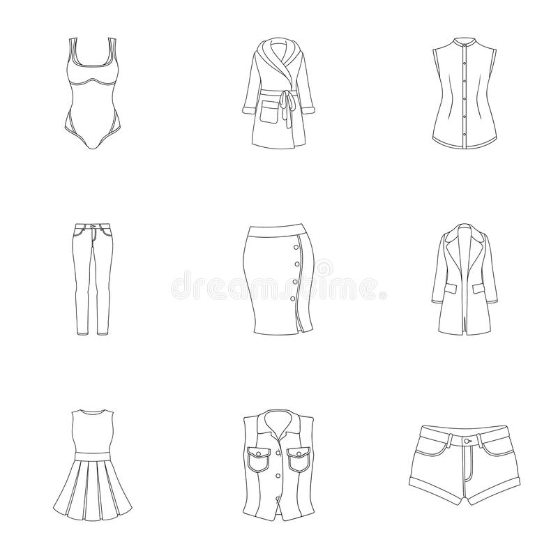 Collection of icons of womens clothing. Various women`s clothes for work, walking, sports. Women clothing icon in set. Collection on outline style vector symbol vector illustration