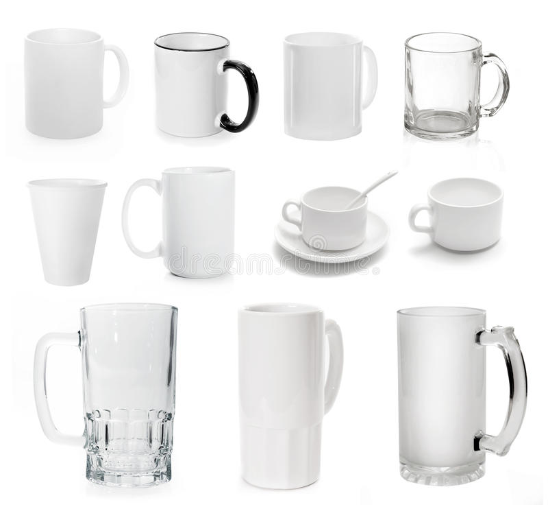 Collection if different cups and mugs. For coffee, tea, beer isolated on white background. transparent and white stock photos