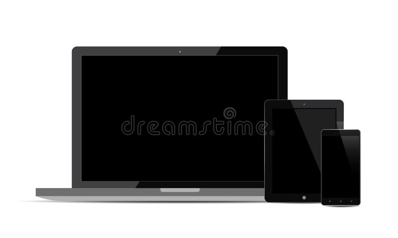 Set Of Realistic Vector Android Mobile Phone Ipad Tablet Android Lcd Tv Monitor Display royalty free illustration