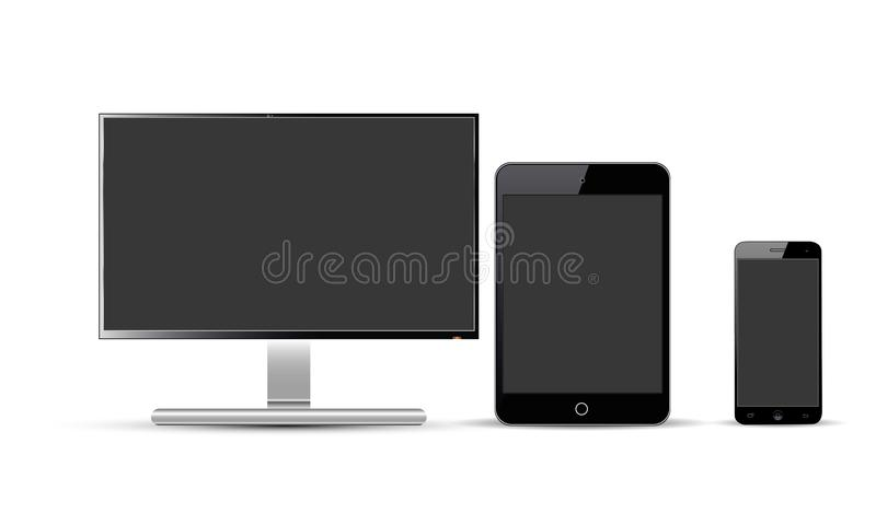 Set Of Realistic Vector Android Mobile Phone Ipad Tablet Android Lcd Tv Monitor Display. Collection of illustration of android touch screen mobile phone latest vector illustration