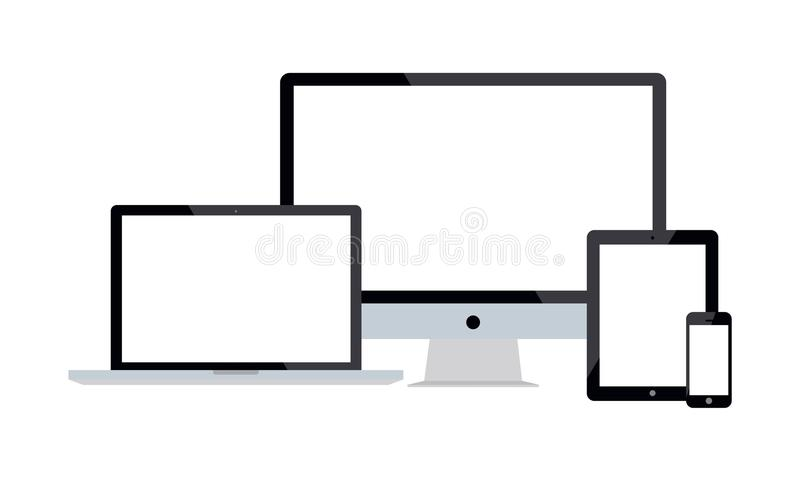 Set Of Realistic Vector Android Mobile Phone Ipad Tablet Android Lcd Tv Monitor Display. Collection of illustration of android touch screen mobile phone latest stock illustration