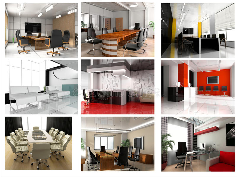 Collection of images of modern office stock illustration