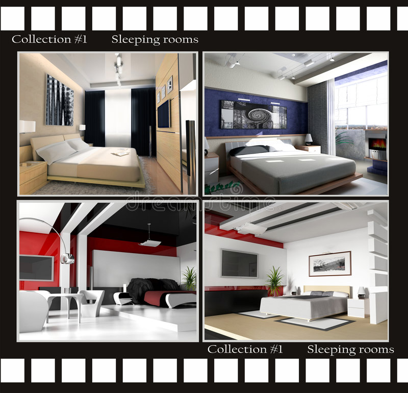 Collection of images of sleeping rooms stock illustration