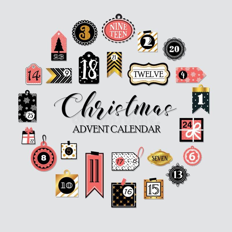 Collection imprimable abstraite d'étiquettes pour Noël, nouvelle année Calendrier d'arrivée Illustration de vecteur Joyeux Noël e illustration libre de droits