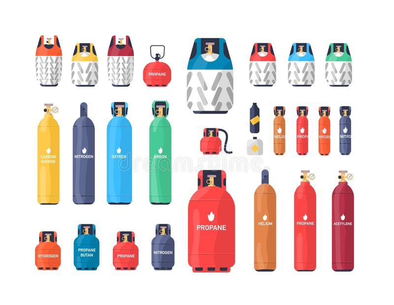 Collection of industrial compressed gas cylinders or tanks of various size and color isolated on white background. Bundle of different pressure vessels stock illustration