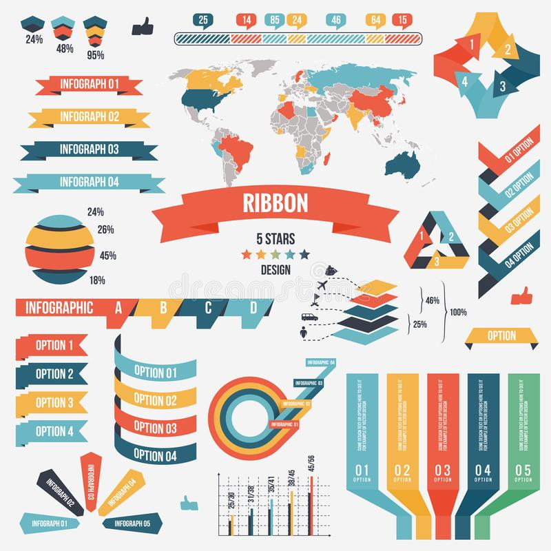 Collection of infograph people elements for business. Vector illustration. Infographic pictograms. Infographs elements stock illustration