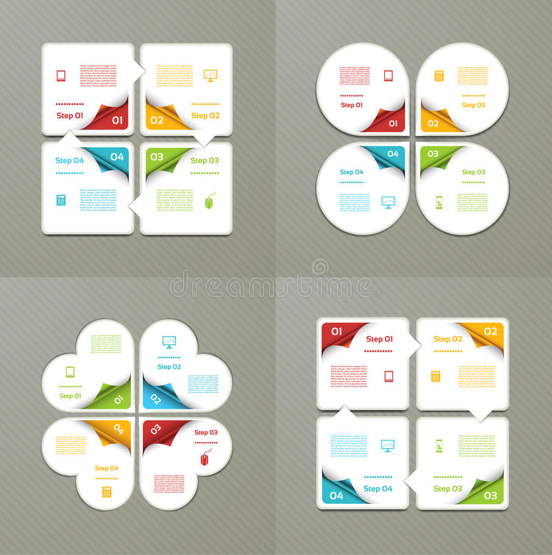 Collection of Infographic Templates for Business. Four steps cycling diagrams. Vector Illustration. royalty free illustration