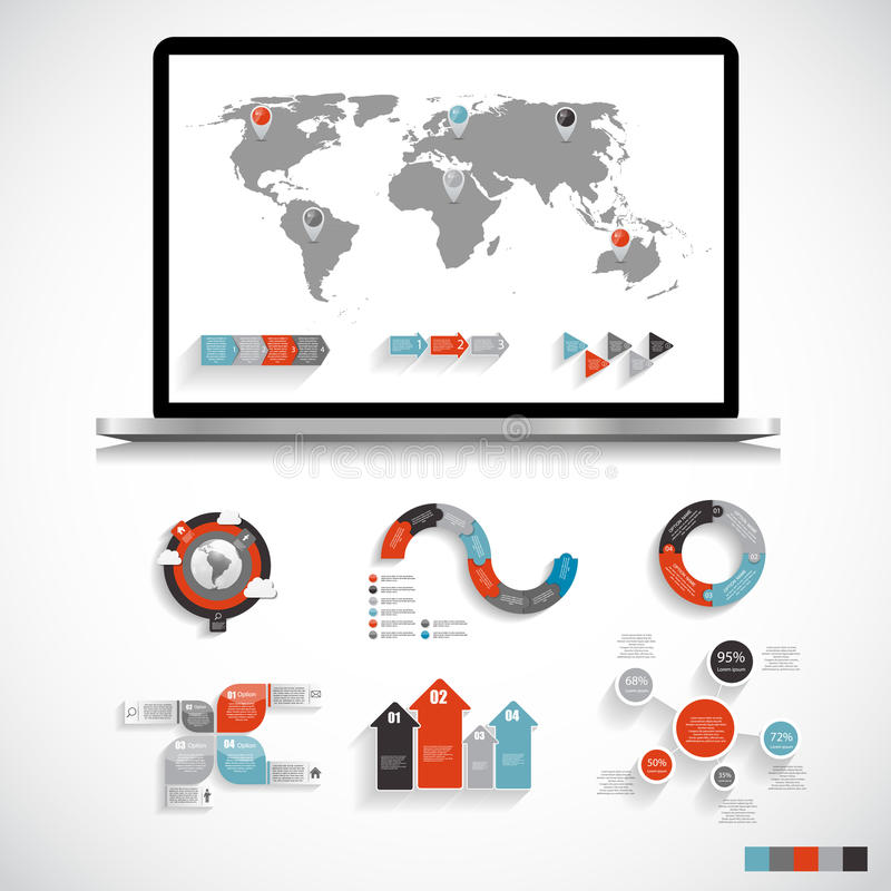 Collection of Infographic Templates for Business. Vector Illustration. EPS10 stock illustration