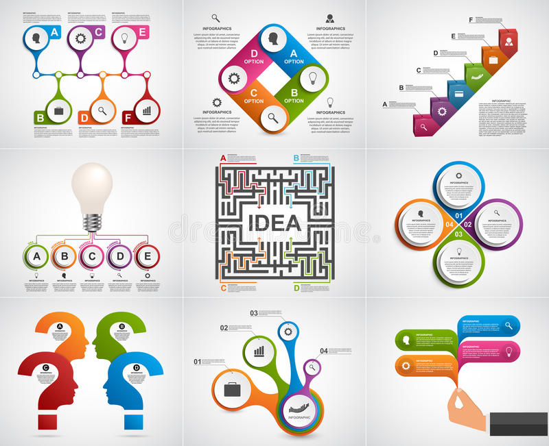 Collection infographics. Design elements. Infographics for business presentations or information banner. Vector illustration royalty free illustration