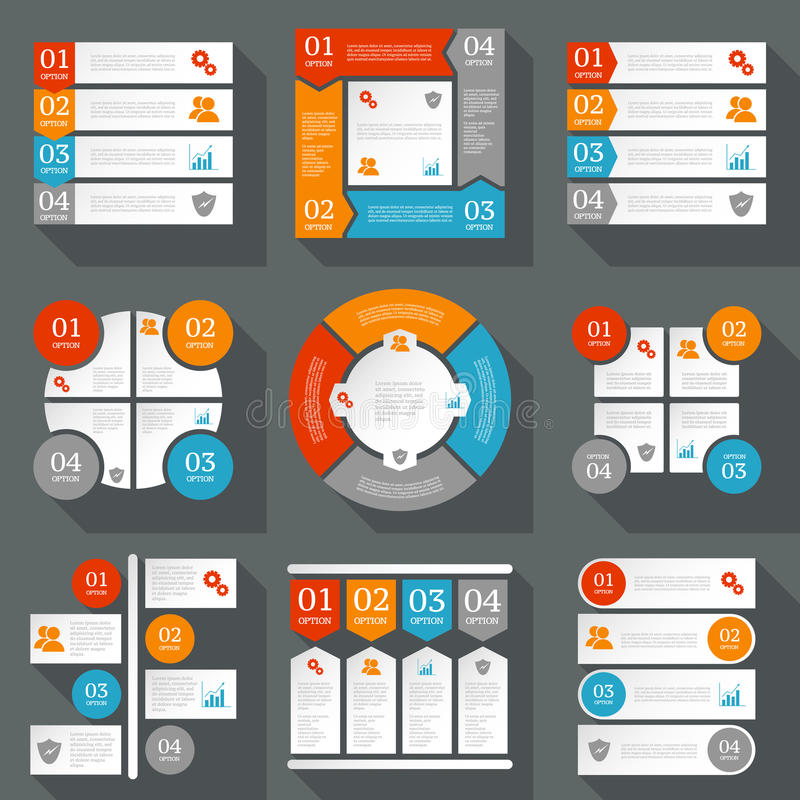 Collection of infographics design templates. Business concept with 4 options vector illustration