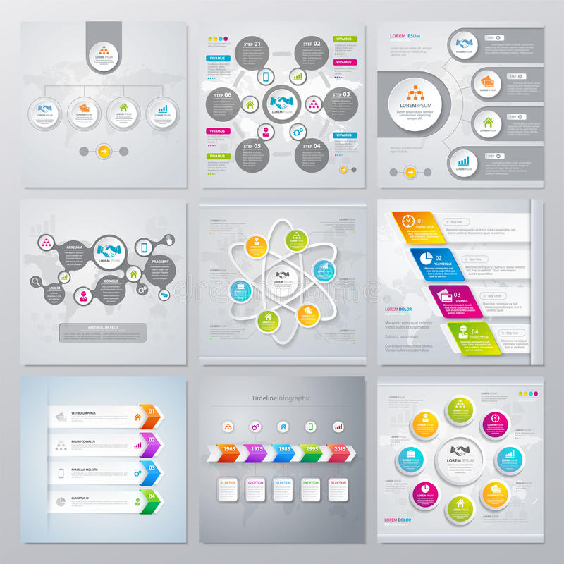 Collection of infographics elements in modern flat business style. stock illustration