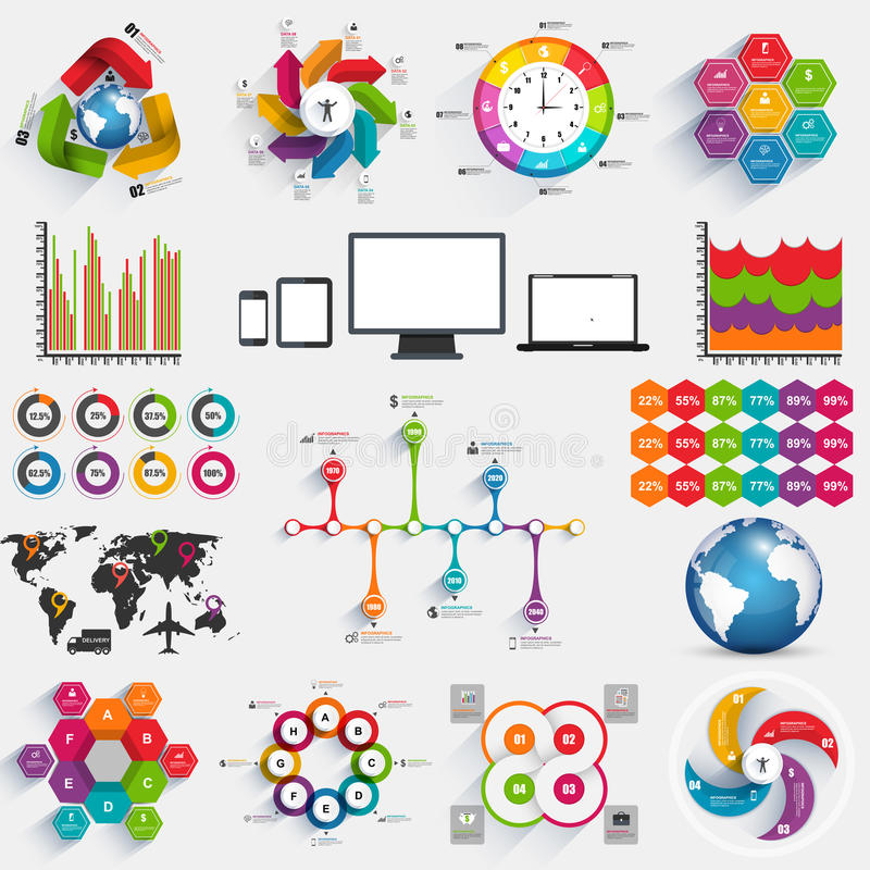 Collection of infographics vector design template vector illustration