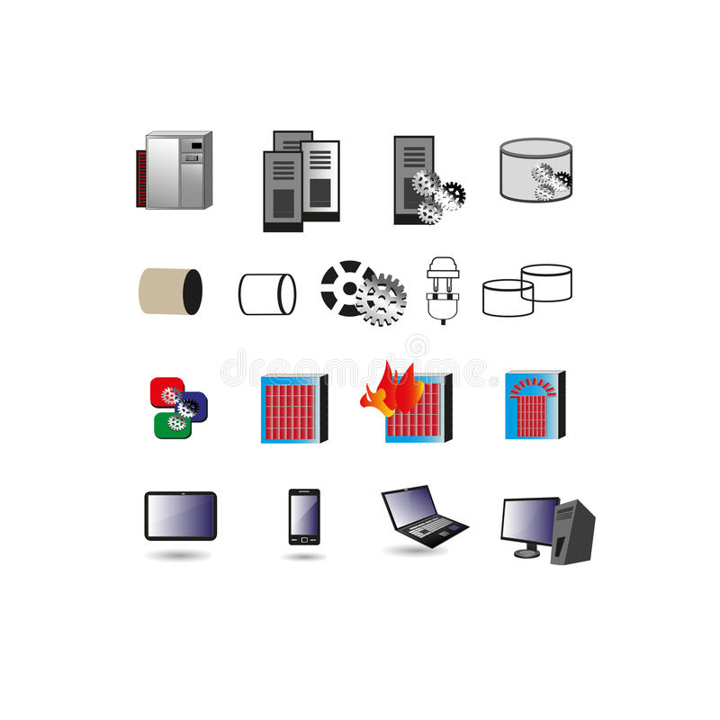Collection of Information technology Icon, Symbols royalty free illustration