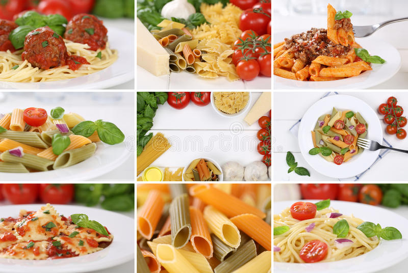 Collection of ingredients for a spaghetti pasta noodles meal wit royalty free stock photo