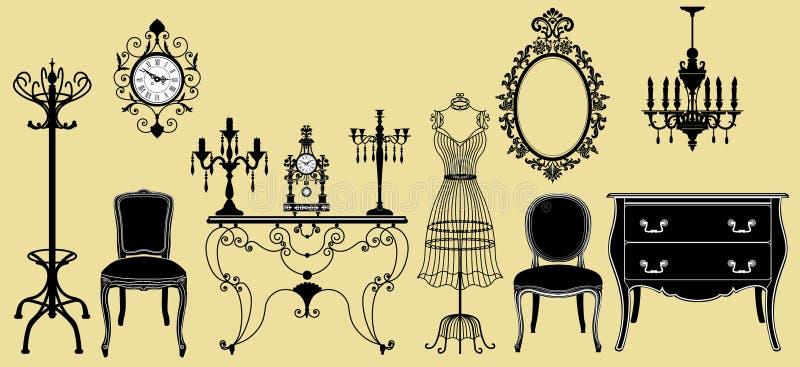 Collection initiale de meubles antiques illustration de vecteur