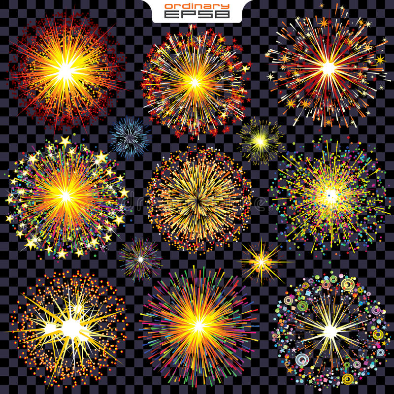 Collection of Isolated Fireworks, Sparks, Explosions. Vector Set Ready for Your Design royalty free illustration