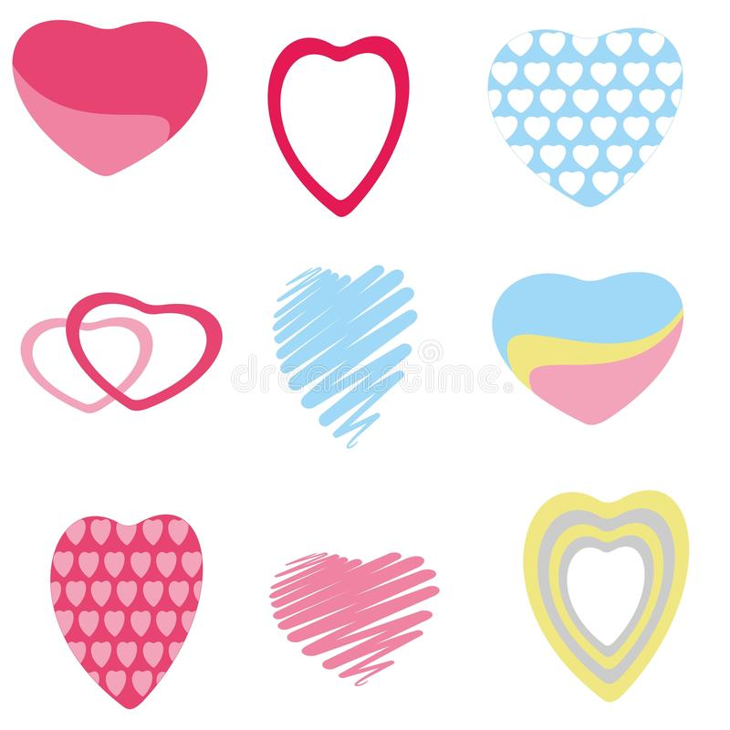 Collection of isolated hand drawn hearts in different colors. Design for Valentine stock illustration