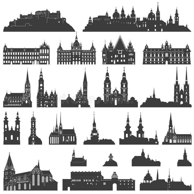 Vector collection of isolated palaces, temples, churches, cathedrals, castles, city halls, edifices, ancient buildings and other vector illustration